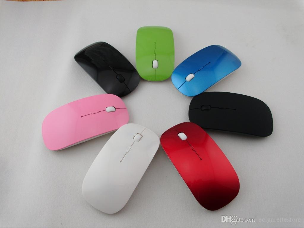 Ultra Thin USB Souris optique sans fil 2.4G Récepteur Super Slim souris pour ordinateur portable PC de bureau 5 couleur Candy
