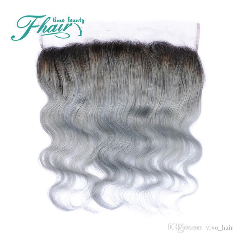 Cuerpo brasileño Onda gris Tejido del cabello 3 paquetes con encaje Cierre frontal Extensiones de cabello Ombre gris plateado con frontales de encaje completo 1B gris