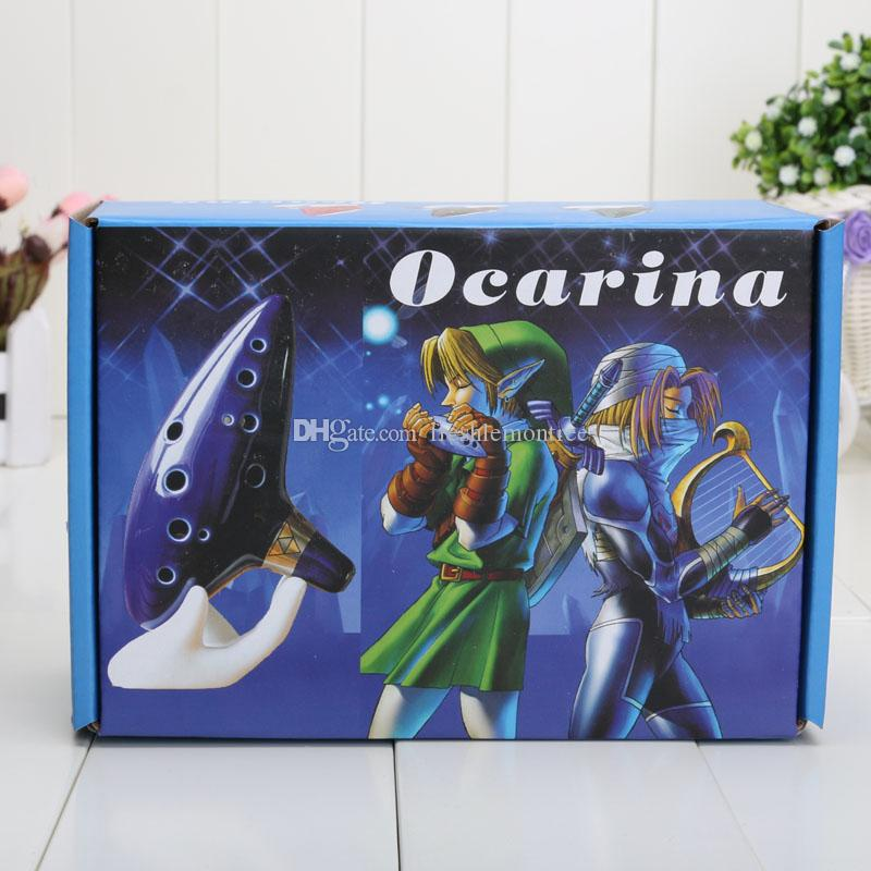 Legend of Zelda figure Inspired Blue Ceramic Clay Ocarina of Time 12 Holes Alto C Flute Occarina Musical Instrument