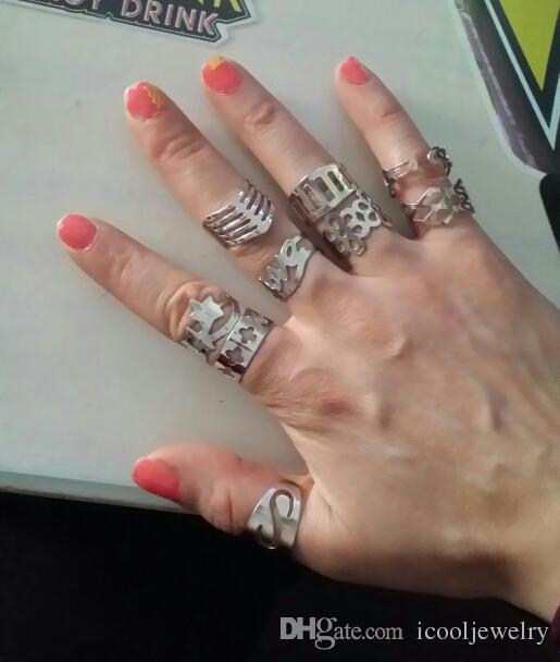 Tamaño ajustable plateado de aleación de zinc anillos de dedo del dedo del pie del anillo para las mujeres y los hombres del estilo de mezcla de la joyería al por mayor de la porción LR129