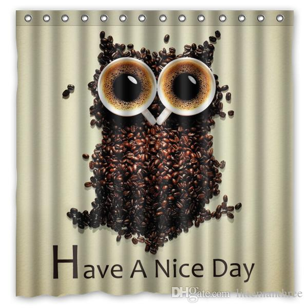 Have A Nice Day Owl Design Shower Curtain