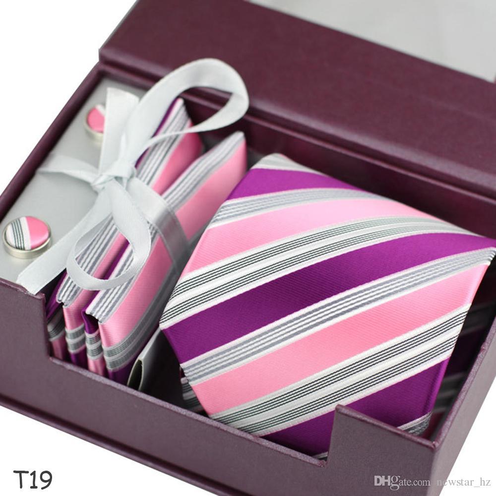 Men Polyester Neckties Set Classic Stripes Tie Cufflink Handkerchief Set Wedding Necktie Formal Men Ties Hanky Neck Tie Xmas Gifts Wholesale
