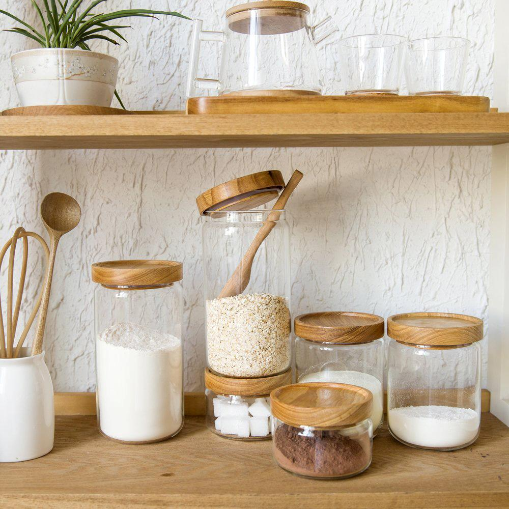 2018 Wholesale Japan Zakka Style Glass Spice Jar Kitchen Canisters Cookie  Jars Wooden Lid Spices Storage Box Candy Jar High Quality From Galry, ...