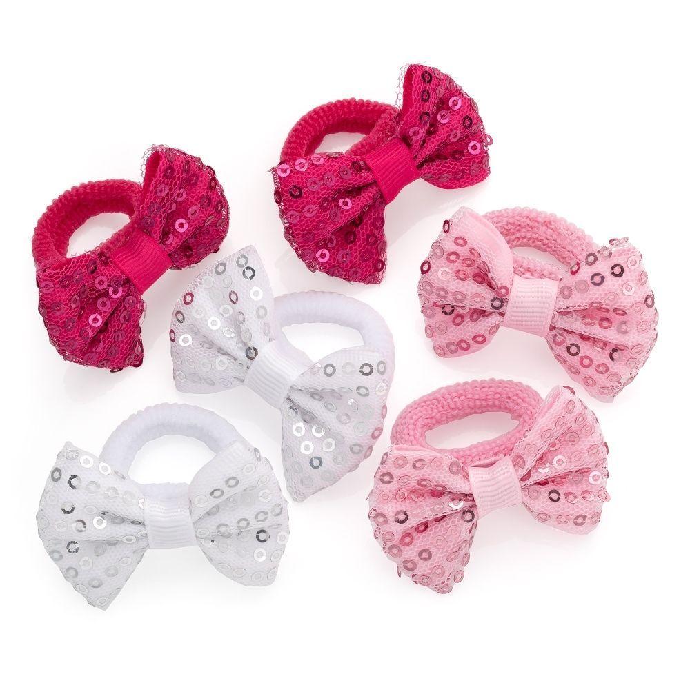 Girls Pink Fabric Flower Ponios Hair Elastics Hair Bands Hair Accessories
