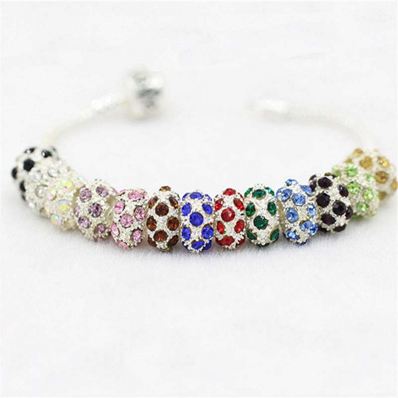 Flat Wheel 18 Crystal Charm Bead 925 Silver Plated Fashion Women Jewelry Stunning Design European Style For Pandora Bracelet Necklace