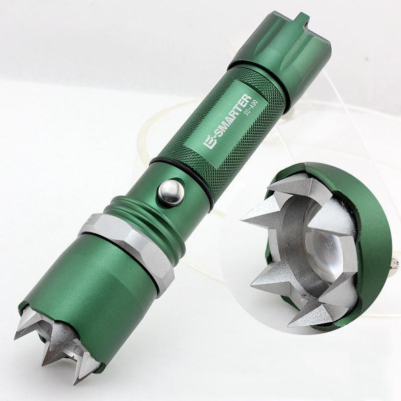 Новое прибытие самообороны светодиодный фонарик Cree Q5 вспышка света факел лампы мощный фонарь тактический Lanterna аварийного защитная лампа факел