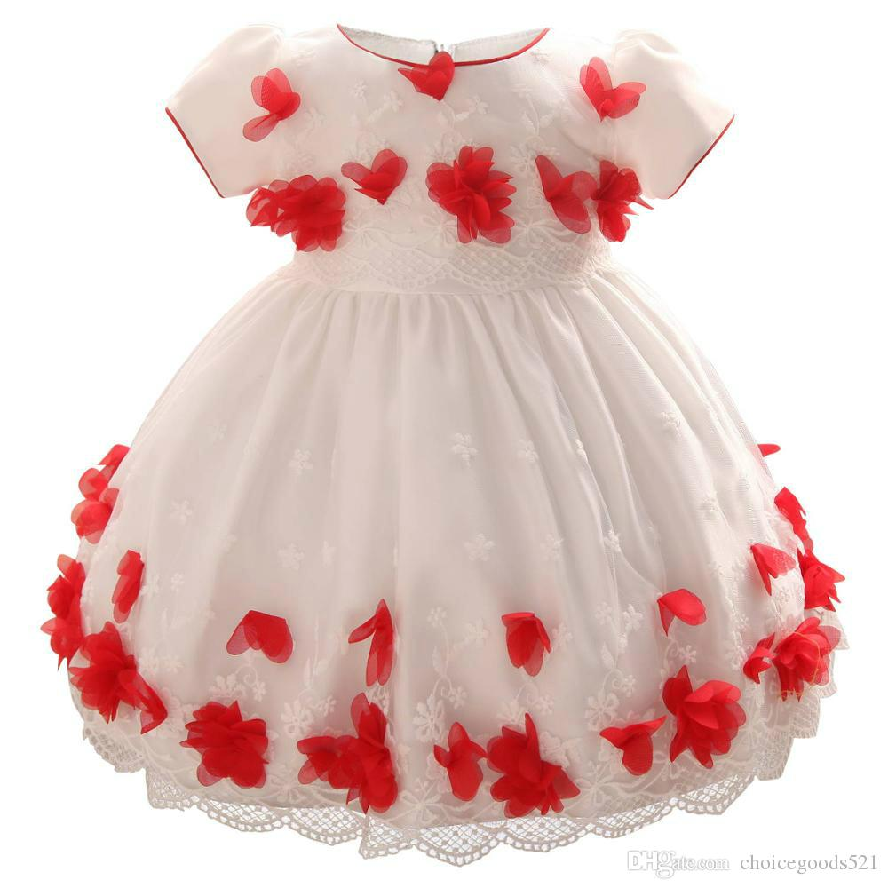 218149d89245 2019 Girl Dress Infants 3D Flower Dress Baby Girl Birthday Full ...