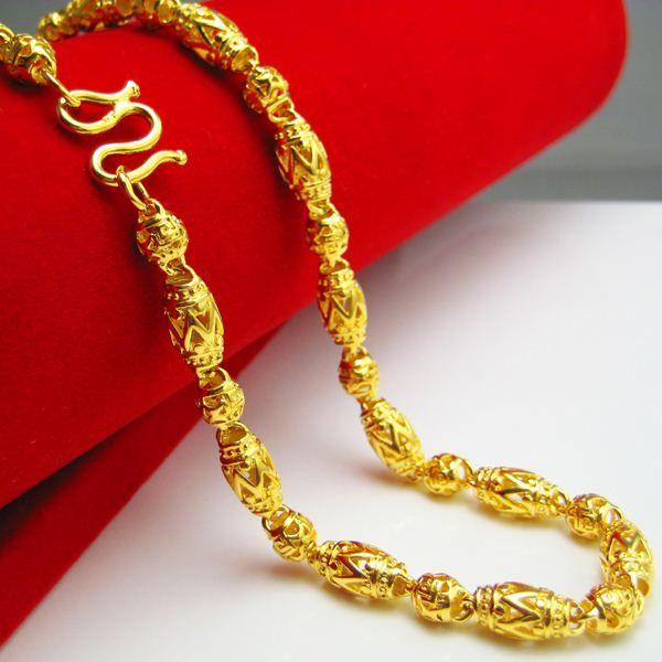 lungo tempo non sbiadisce collana d'oro mens gioielli simulazione catena d'oro catena perline gioielli imitazione uomini inviati agli amici