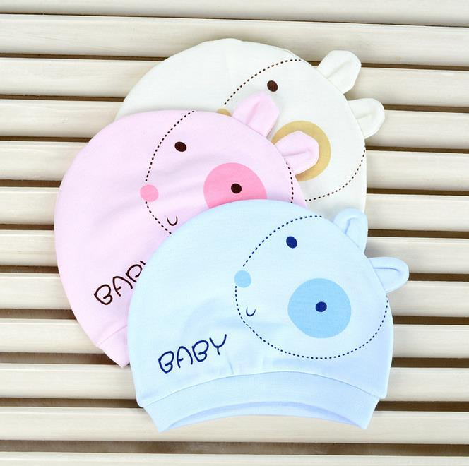 New Infant Baby Hats Kids Cartoon Animal Cotton Newborn Hats Boys Girls Caps Hats Yellow Pink Blue 11471