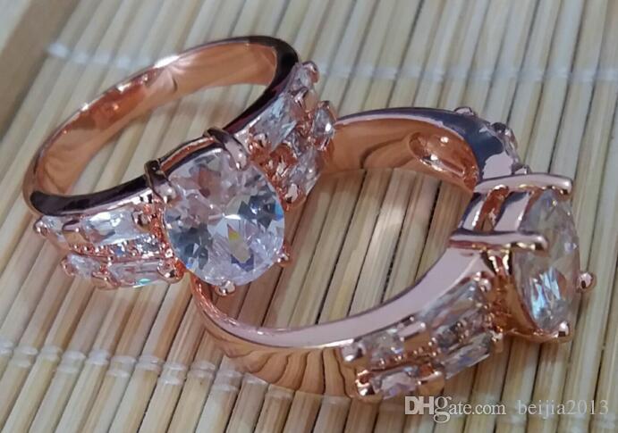 Lüks Band Yüzükler 18 K Katı Sarı Altın Kaplama Kristal Zirkon Taş Nişan Düğün Severler Çift Yüzük