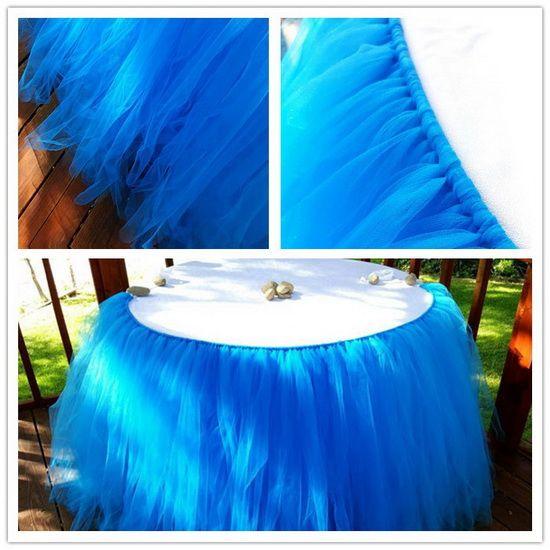 الجدول التنورة 100CM X 80CM تول توتو الجدول التنورة حصول على حفل زفاف استحمام الطفل ديكور 23 اللون