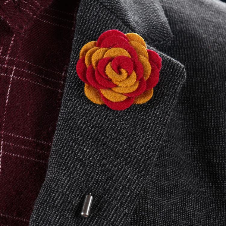 New fashion men brooch flower lapel pin 3.5cm suit boutonniere Felt cloth pin button flower Stick brooches for wedding