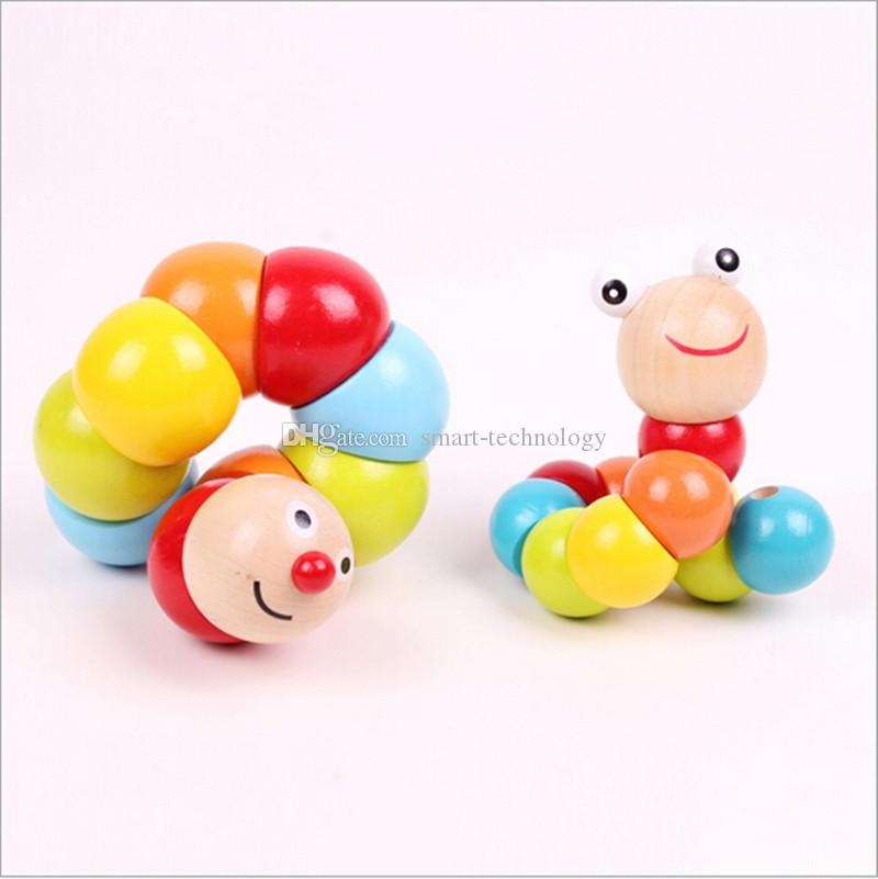 17 см 2 стили симпатичные красочные изменения гусеница раннего образования головоломки деревянные игрушки для ребенка игрушки подарок ребенка бесплатная доставка DHL
