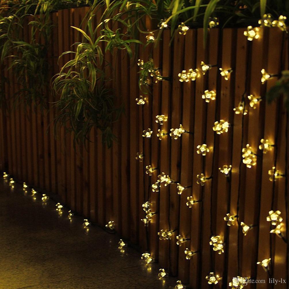 New Solar LED flower light led Cherry Blossom string light outdoor led christmas decoration lights waterproof 7m 50 led bulbs