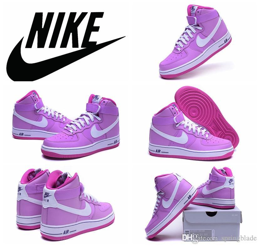 Nike Air Force 1 High Gs Af1 Basketball Shoes 2016 Original Quality White  Purple Pink Air Force Ones Athletic Shoes For Women Lady Girl Girls  Basketball ...