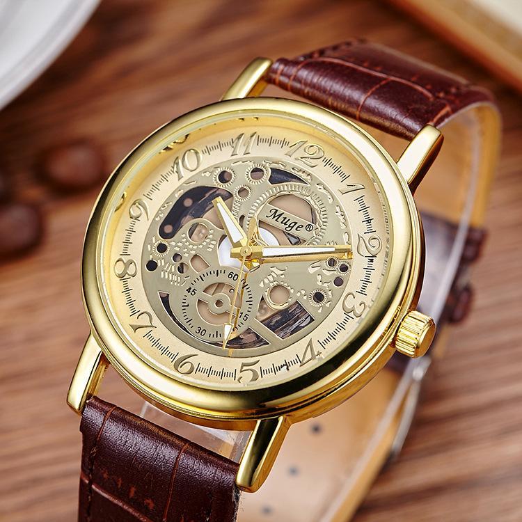Gold Watch Men Silver & Rose Gold Leather Band Designer ...