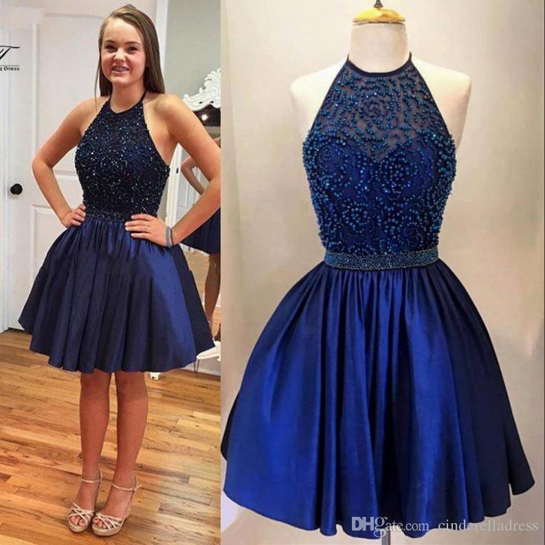 Azul marinho Curto Homecoming Vestidos 2017 Halter Barato Pérola Doce 16 Vestido  De Baile Beading Curto Prom Vestido de Cocktail Vestidos BA2821 Barato 33e0b6211081