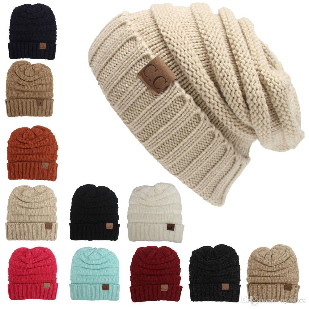 81e4493889e New Men Women Hat CC Trendy Warm Oversized Chunky Soft Oversized Cable Knit  Slouchy Beanie Baby Boy Hats Black Baseball Cap From Nycstore
