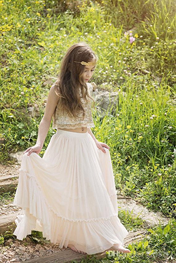 Gold Boho Blumenmädchen Kleid Champagner Junior Brautjungfer Kleid böhmischen kleine Mädchen Hochzeit tragen Kinder formale Kleid erste Kommunion Kleid