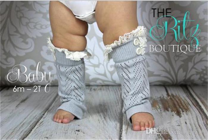 새로운 뜨거운 판매 다리 따뜻하게 아기 hollow-out 레이스 따뜻한 피트 버튼의 세트 코튼 짧은 다리 부츠 커프스 베이비 양말 2778