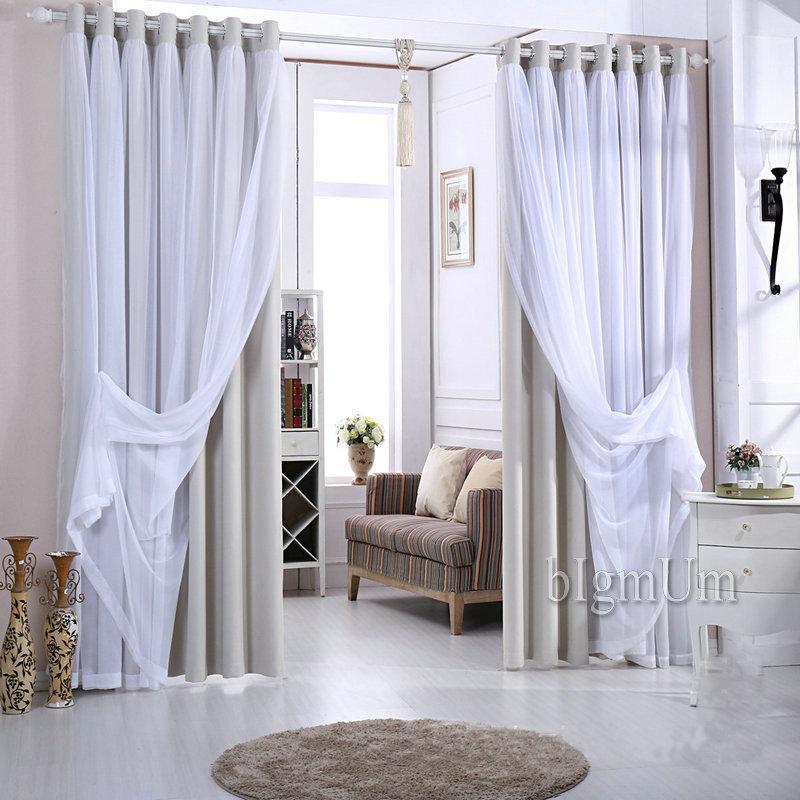 Recién llegado Cortinas de encaje Cortinas oscuras sólidas + Tul blanco Elegantes cortinas de hadas Confeccionadas Por encargo Amarillo / Rosa / Verde / Marrón