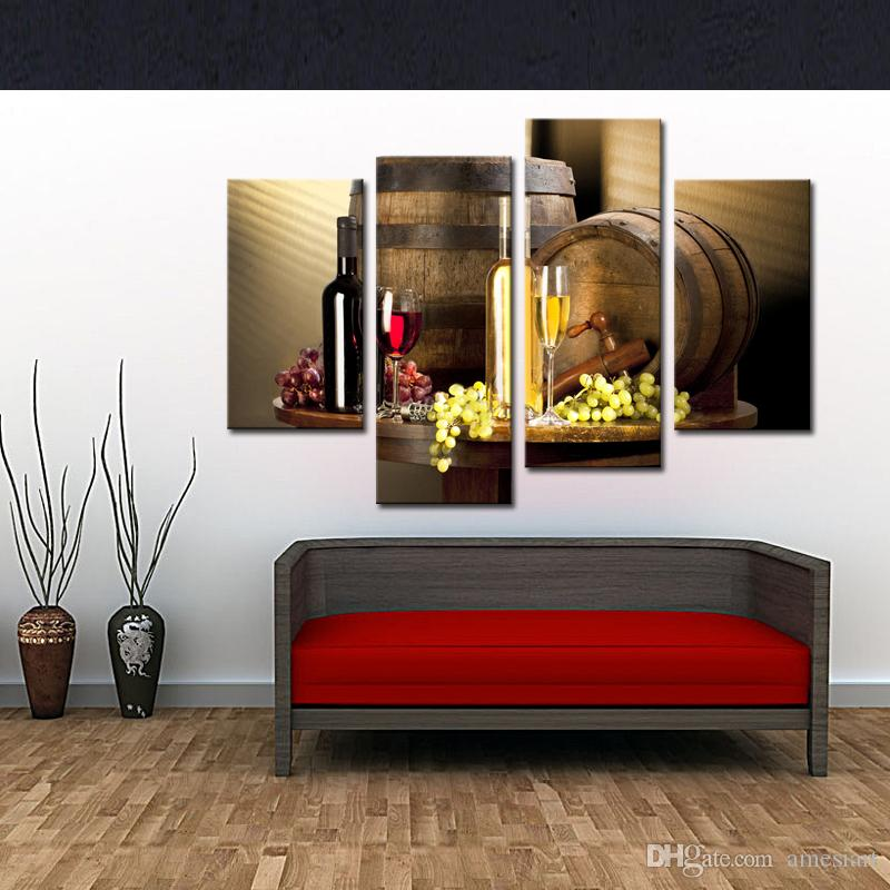 Wine And Fruit With Glass And Barrel Wall Art Painting Pictures Print On Canvas Food For Home Decor With Wooden Framed
