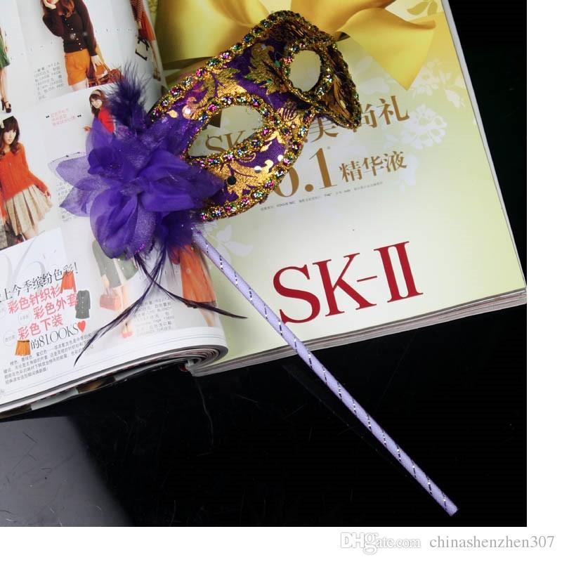 Feito à mão Partido com vara de Casamento Venetian Meia face máscara de flor Máscara de Halloween Masquerade princesa Trança Mardi Gras Máscara de 7 cores