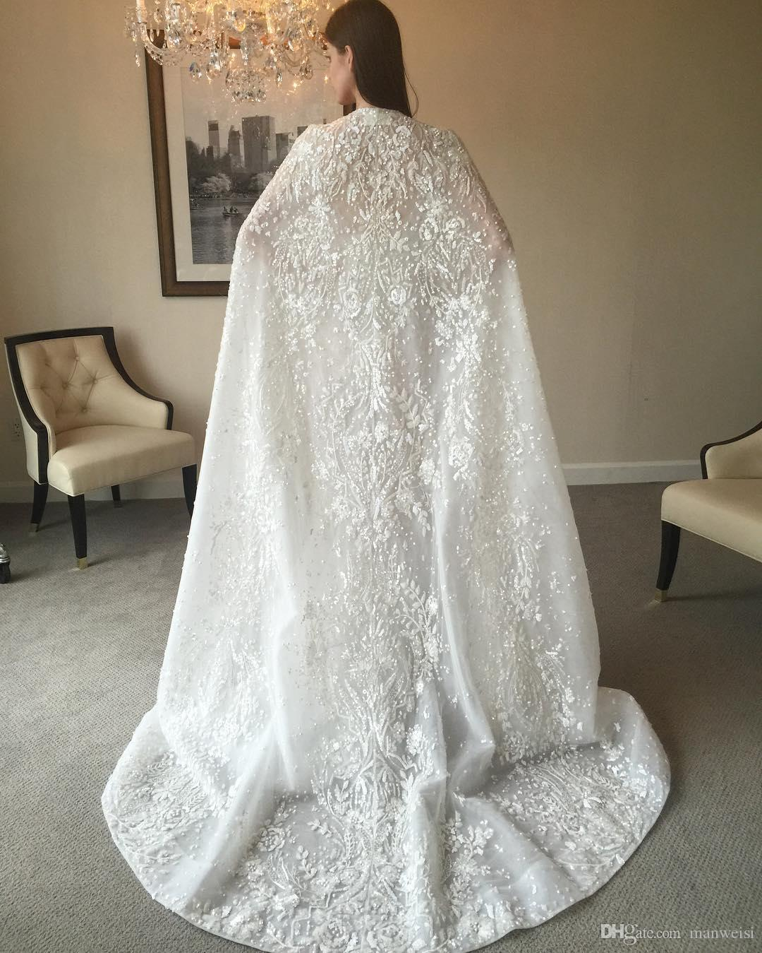 Luxury 2017 Zuhair Murad Mermaid Wedding Dresses Cowl Backs Beaded Applique Trumpet Bridal Gowns Sexy Illusion Bodice Wedding Dress