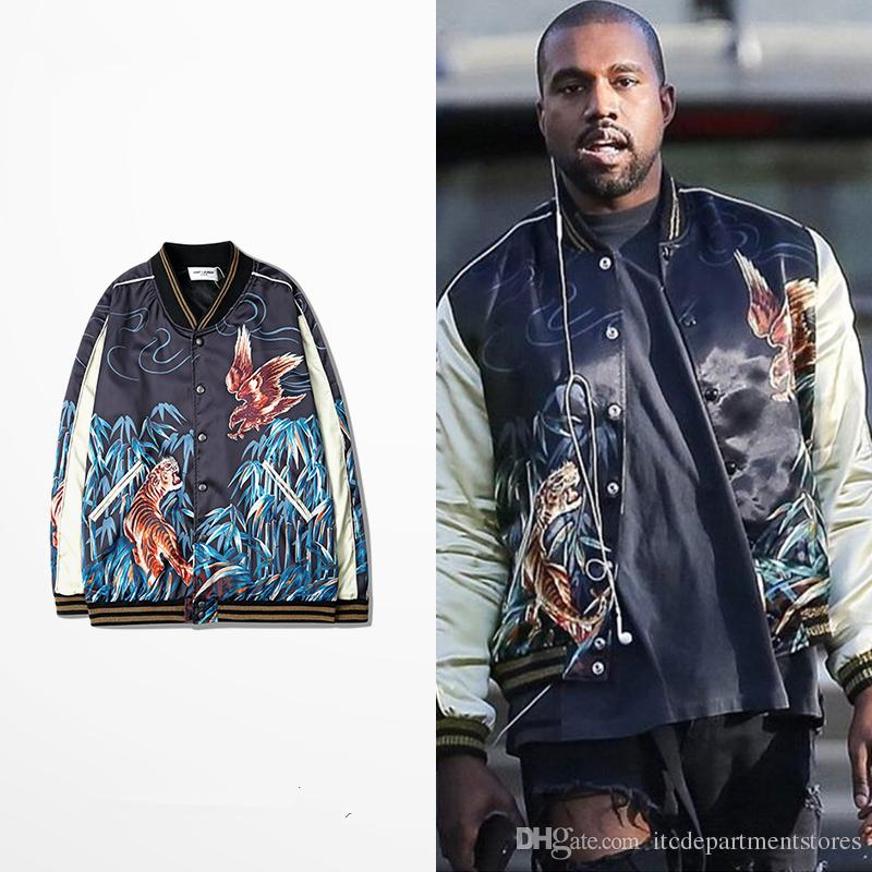 New Kanye West Baseball Jacket Embroidery Bomber Jacket Men Women Tiger  Eagle Souvenir Coat Vintage Silk Jacket Mens Jackets And Coats Jackets And  Coats ...