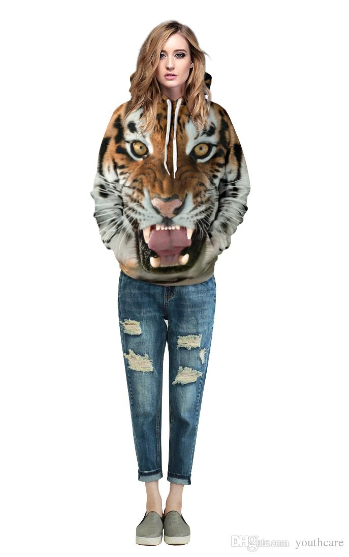 Youthcare Hoodie for Men and Women 3D printed Tiger Hoodie Oversize Pullover Long sleeve tops Sweater