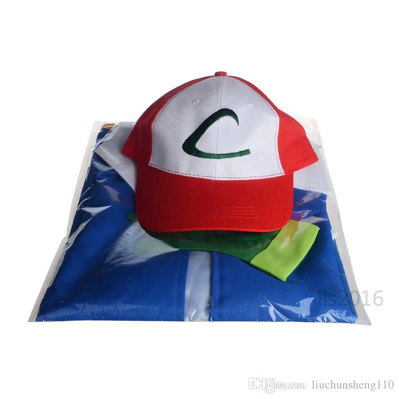 حار! أنيمي الرماد كيتشوم المدرب زي هالوين تأثيري unisen قميص سترة + قفازات + قبعة الأصلي اصلي الأزرق