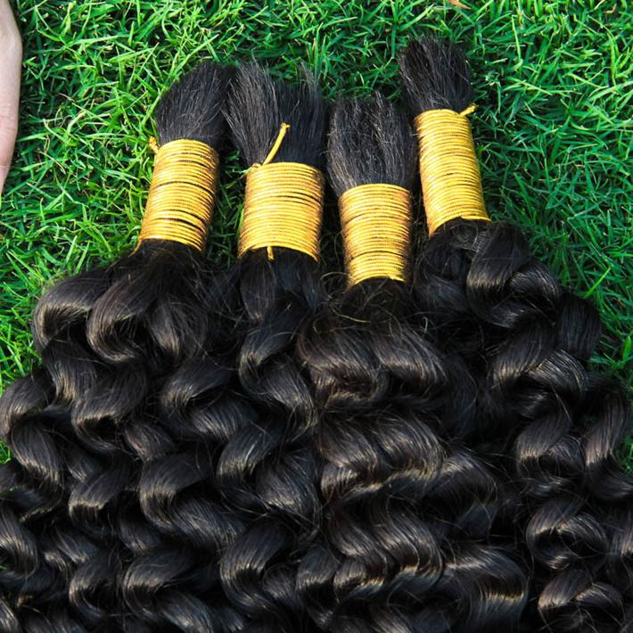 Top Quality Curly Human Hair Bulks No Weft Cheap Brazilian Kinky Curly Hair Extensions in Bulk for Braiding No Attachment 3 Bundles