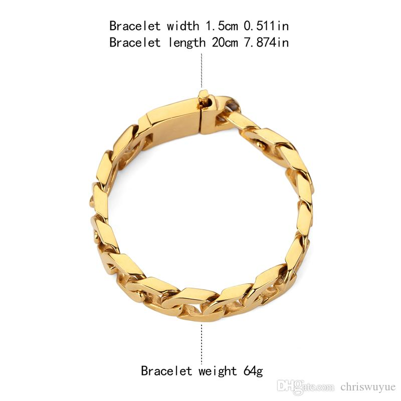 Cuban men's popular bracelet 15mm Wide Bangles Gold Big Thick Stainless Steel Bracelet Give friends the best gift