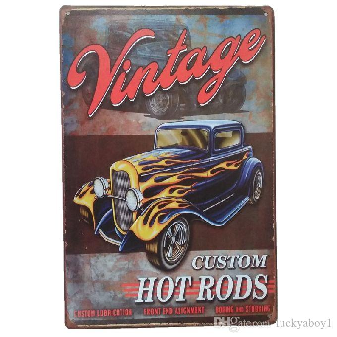 Vintage custom hot Rods Retro rustic tin metal sign Wall Decor Vintage Tin Poster Cafe Shop Bar home decor