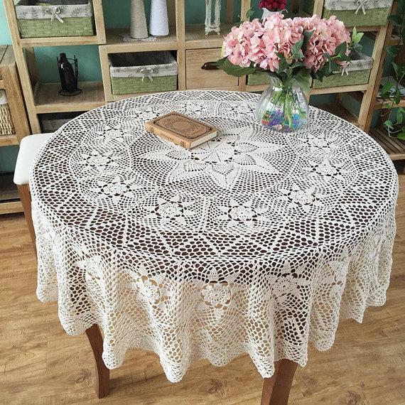 165 Cm Gorgeous Crochet Pattern Table Cover Round, Handmade Lace Table  Topper, Nice Crocheted Tablecloths For Mom ~ Color Options Table Cloths  Table Linens ...