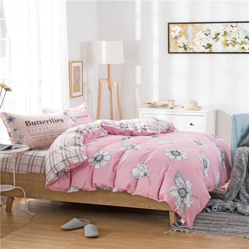 white flowers floral light pink bedding sets linens cotton twin single double queen size duvet. Black Bedroom Furniture Sets. Home Design Ideas