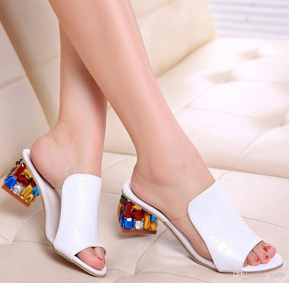 Fashion Women sandals for Lady shoes Slipper Rhinestone high wedge flip flops open toe shoes sandals EU34-41
