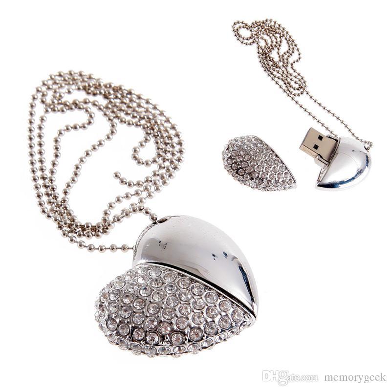 Mini Crystal Heart Model Model USB 2.0 Flash Drive XMAS Gift 64GB 16GB 32GB Pen U Stick Memory Full Capacity For PC 64GB 128GB 256GB