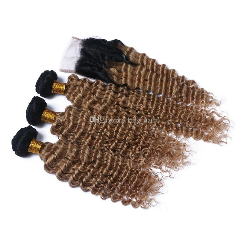Hot Selling Ombre Color #1B 27 Hair Bundles With Lace Closure Peruvian Deep Wave Hair Weaves With Lace Closure For Black Woman