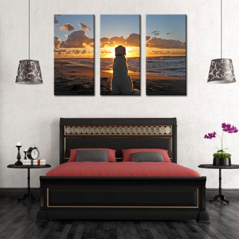 3 Panel a Dog Watch the Sunrise at the Seaside Print on Canvas for Home Wall Decor Oil Painting Art