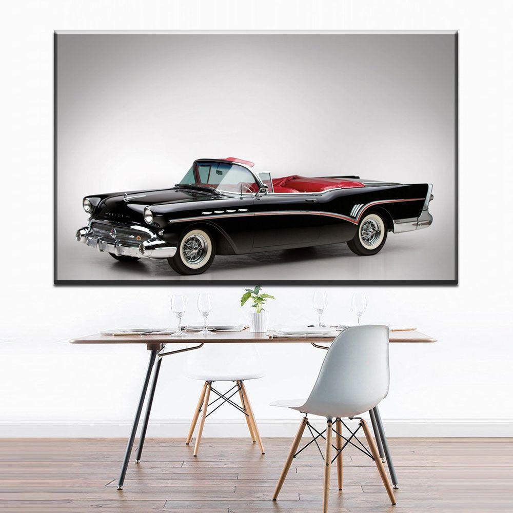 ZZ1306 simple canvas prints art black classic sports car canvas pictures oil art painting for livingroom bedroom decoration art