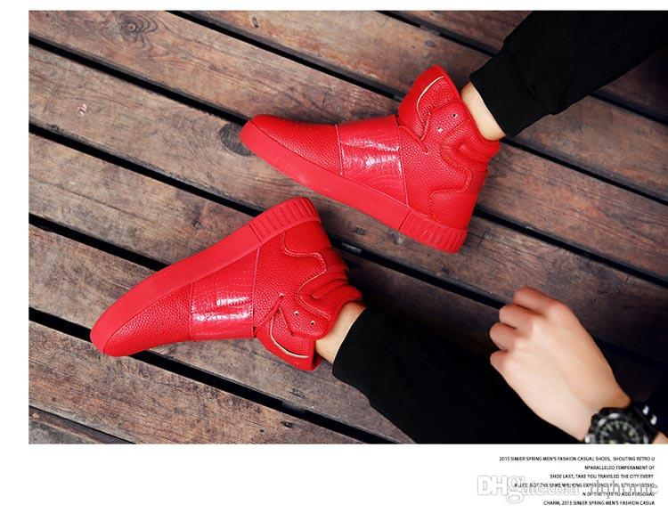 New Style Autumn Winter Men White Black Red Martin Boots Warm Englon Style Teenager Outdoor Wedge Boots Leisure Ankle Boots