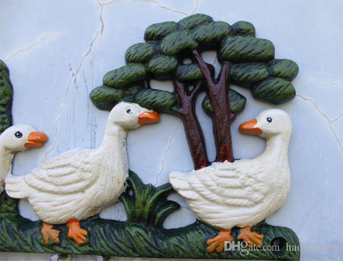 2 Pièces Pratique Pays Rural En Fer Forgé Trois Canards En Métal Mural Porte-Clé Crochet Cintre Mur Rack Home Cottage Vintage Décoration