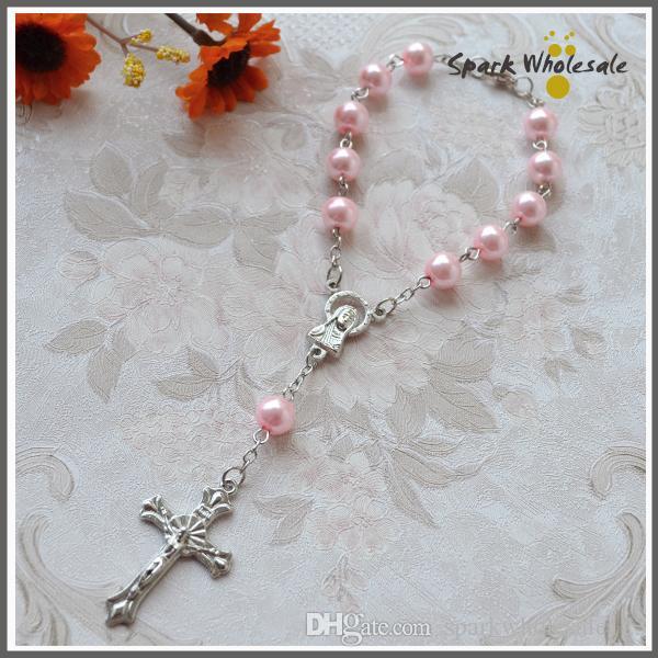 Grosshandel Religiose Geschenke Rosa Perle Rosenkranz Armband