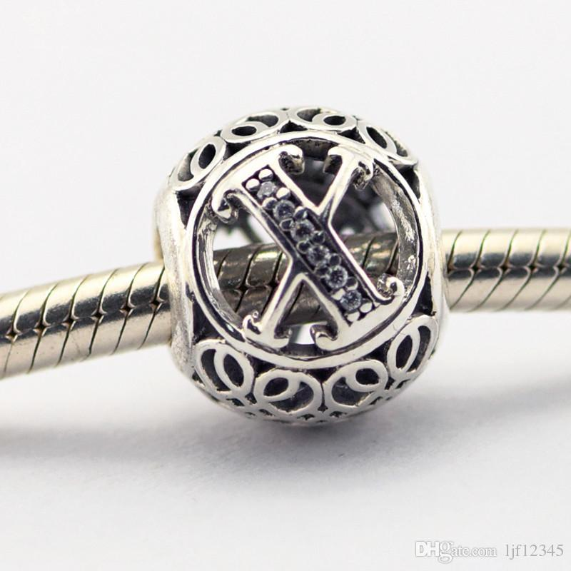 Старинные письмо X четкий CZ бусины подходит Pandora браслеты бусины аутентичные стерлингового серебра 925 бусины DIY шарик Оптовая очарование LE015-X