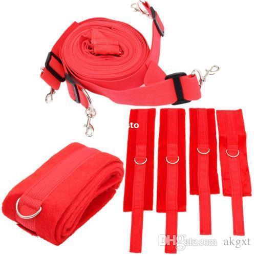 Adult Under The Bed Restraint System Handcuffs Rope Strap Bondage Set Red   E593 Japanese Bondage Ropes Las Vegas Bondage From Akgxt