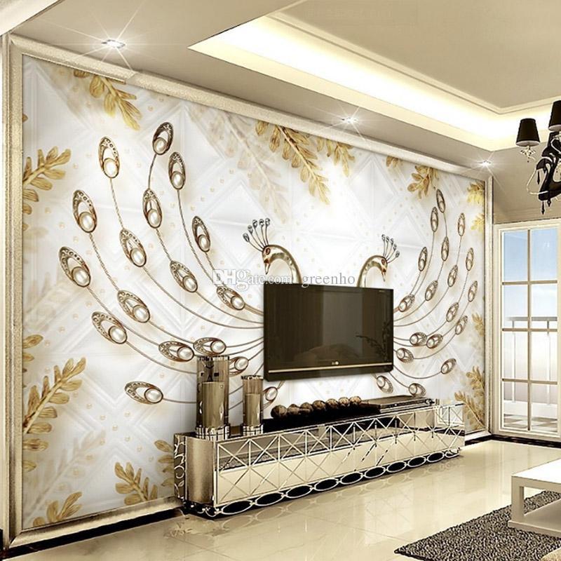 Grosshandel 3d Luxus Tapete Schmuck Pfau Wandbild Diamant Tv