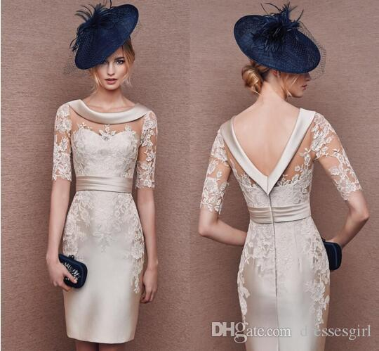 Unusual Mother Of The Bride Dresses: Elegant Champagne Mother Of The Bride Dresses Boat Neck