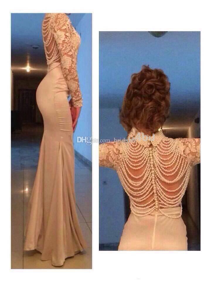 2016 высокая шея бисером жемчуг обратно кружева с длинным рукавом вечернее платье русалка кружева вечернее платье vestido де вечер