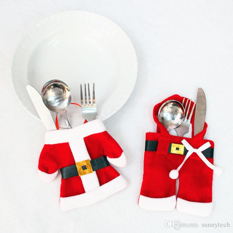 Santa Suit Clothes Christmas Cutlery Silverware Holder Pockets Knives Forks Bag Xmas Party Table Decorations WA1071